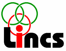 Lincs logo, black and red with green and red hoops